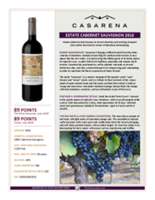 Estate Cabernet Sauvignon 2016 Product Sheet