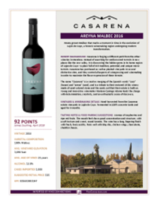 Areyna Malbec 2016 Product Sheet