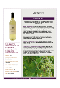 Semillon 2017 Product Sheet