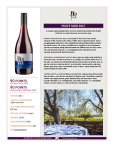 Pinot Noir 2017 Product Sheet