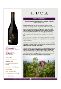 Pinot Noir 2015 Product Sheet