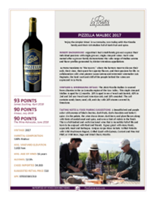 Pizzella Malbec 2017 Product Sheet
