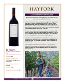 Cabernet Sauvignon  2015 Product Sheet