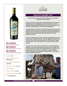 Paulucci Malbec 2017 Product Sheet
