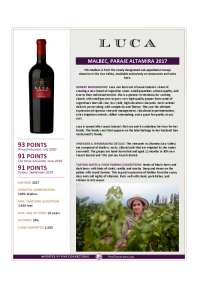 Malbec, Paraje Altamira 2017 Product Sheet