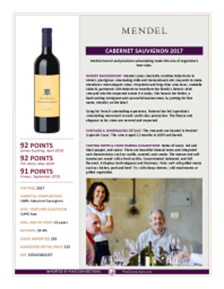 Cabernet Sauvignon 2017 Product Sheet