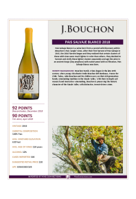 Pais Salvaje Blanco 2018 Product Sheet