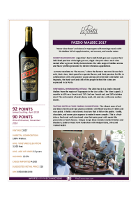 Fazzio Malbec 2017 Product Sheet