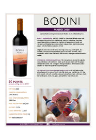 Malbec 2018 Product Sheet