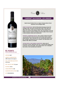 Cabernet Sauvignon, Los Lingues Vineyard 2017 Product Sheet