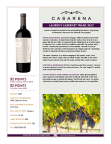 Single Vineyard Lauren's Cabernet Franc 2017 Product Sheet