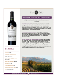 Carmenere, Los Lingues Vineyard 2018 Product Sheet