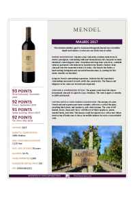 Malbec 2017 Product Sheet