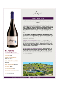 Pinot Noir 2016 Product Sheet
