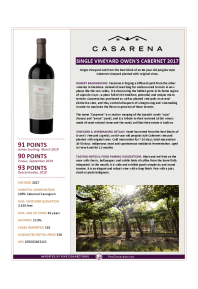 Single Vineyard Owen's Cabernet 2017 Product Sheet