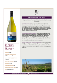 Sauvignon Blanc 2018 Product Sheet