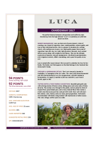 Chardonnay 2017 Product Sheet
