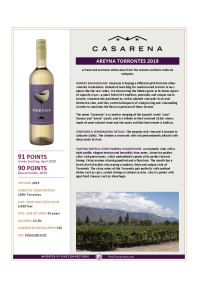 Areyna Torrontes 2019 Product Sheet