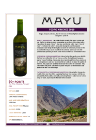 Pedro Ximenez 2019 Product Sheet