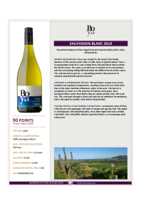 Sauvignon Blanc 2019 Product Sheet