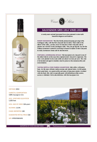Sauvignon Gris 1912 Vines 2019 Product Sheet