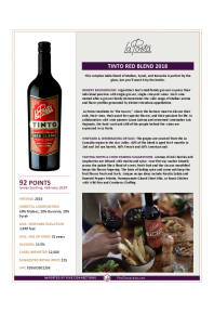 Tinto Red Blend 2018 Product Sheet