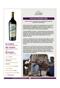 Paulucci Malbec 2018 Product Sheet