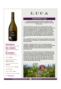 Chardonnay 2018 Product Sheet