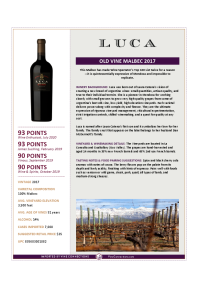 Old Vine Malbec 2017 Product Sheet
