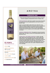 Torrontes 2020 Product Sheet